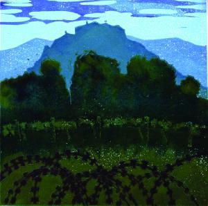 Castelvenere, 2019 xilografia policroma - barvni lesorez, 35 x 35 cm