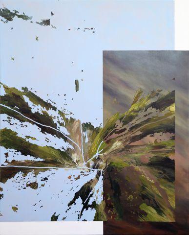 Monika Slemc: JOMO. FOMO. YOLO., 2019, akril na platnu, 100 x 80 cm