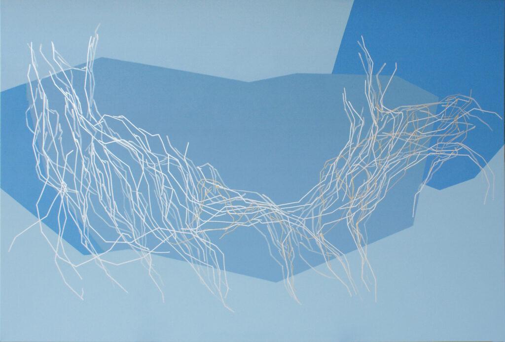 Ljubezen je modra,2018, akril in rapidograf na platnu, 100x150 cm